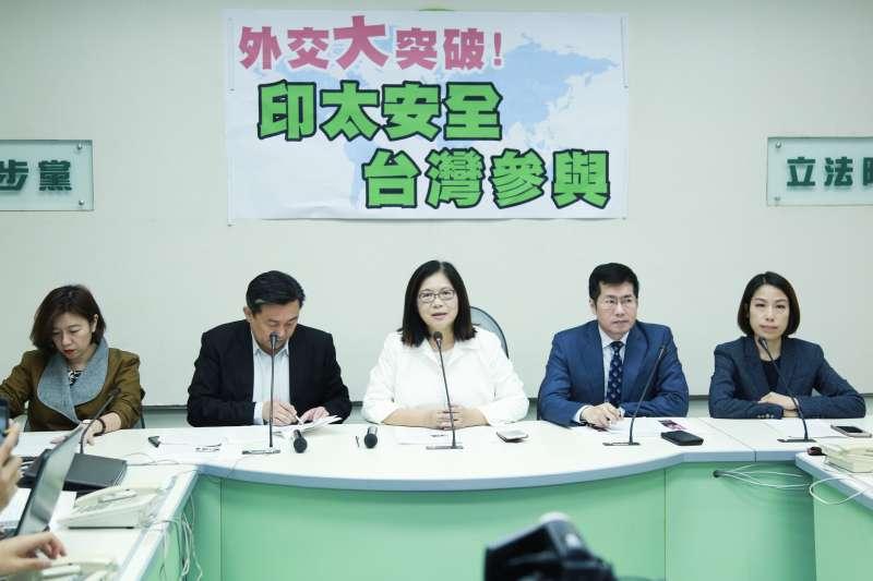 20190320-民進黨立法院黨團20日舉辦「外交大突破 印太安全 台灣參與」記者會。(簡必丞攝)