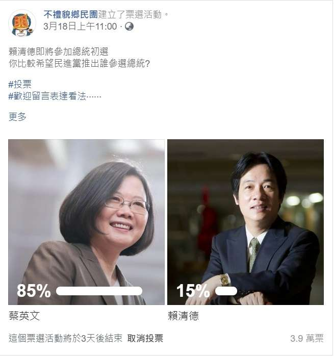 20190321_反國民黨立場鮮明的「不禮貌鄉民團」網路投票,截自21日,蔡英文以85%支持度輾壓賴清德的15%。(取自臉書)