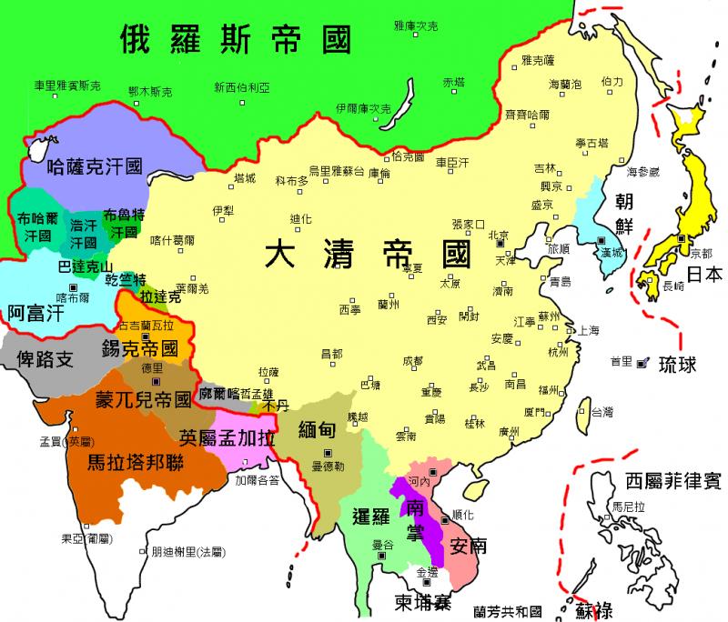 乾隆時期的清朝版圖與藩屬國(圖/維基百科)