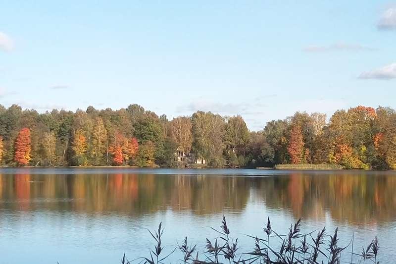 沿著湖畔美景散步,半小時就到特拉凱水上城堡(圖/作者提供)