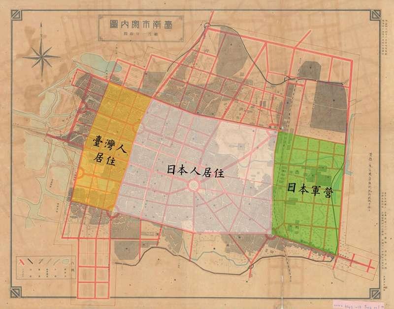 透過圓環和棋盤式道路,區隔日本人、臺灣人的生活場域。(編註:色塊標示為約略範圍)( 圖片/明治四十國史館臺灣文獻館,研之有物提供)