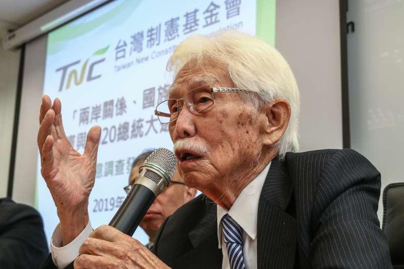20190327-辜寬敏(台灣制憲基金會董事長)27日出席「最新兩岸關係、國族認同、制憲與2020總統仿初選評估」民意調查發布記者會。(蔡親傑攝)