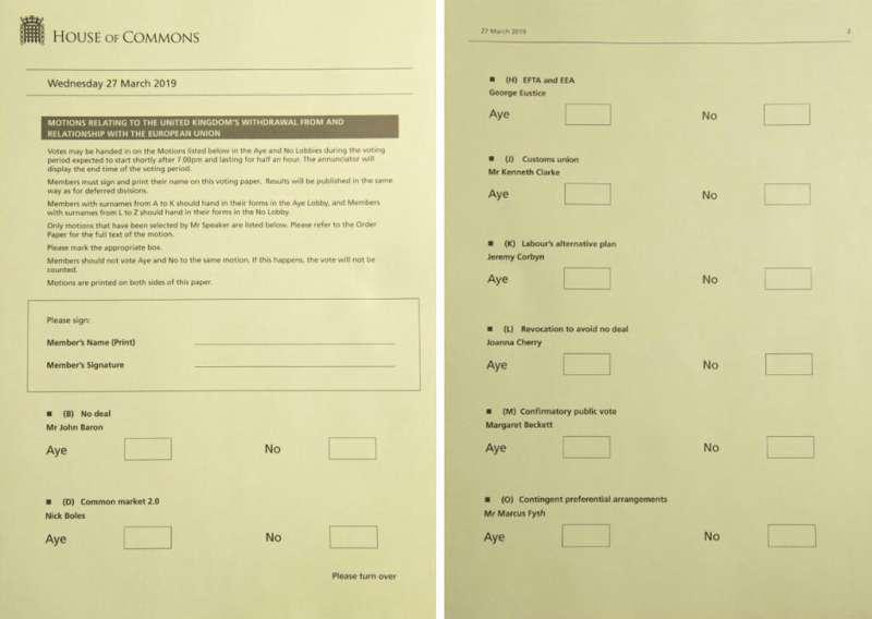 英國下議院27日晚間舉行「指示性投票」,希望找出國會真正想要的脫歐方式。(美聯社)