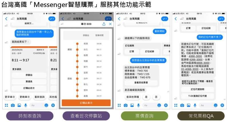 20190328-台灣高鐵28日起推出「Messenger智慧購票」服務,旅客用Facebook語音就能輕鬆訂到票。圖為台灣高鐵「Messenger智慧購票」服務其他功能示範。(台灣高鐵公司提供)
