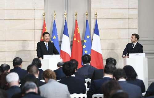 2019年3月25日,中國國家主席習近平在巴黎愛麗榭宮同法國總統馬克宏會談。(新華社)