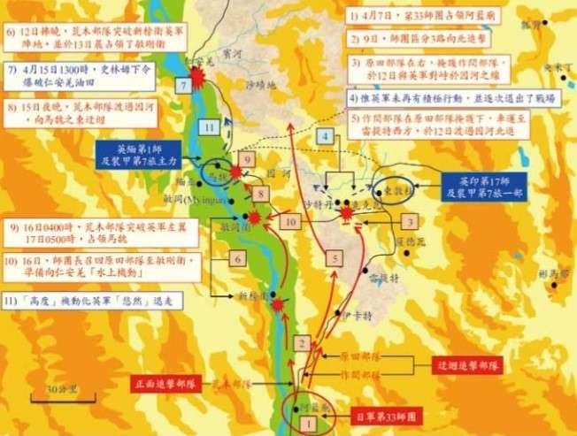 4月9日-15日,日軍第33師團追擊狀況示意,圖片摘錄自──何世同:《1942年「仁安羌之戰」始末/The Retrospect of the Battle of Yenangyaung in 1942》(國防雜誌第三十二卷第二期/2017年6月)。