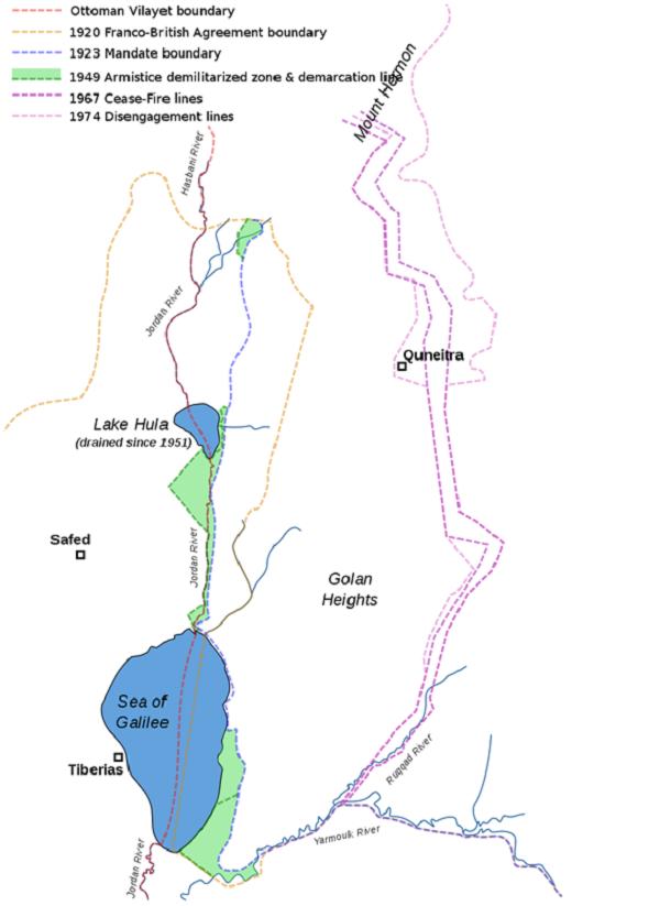 戈蘭高地的歷次劃界(圖片取自:維基百科)