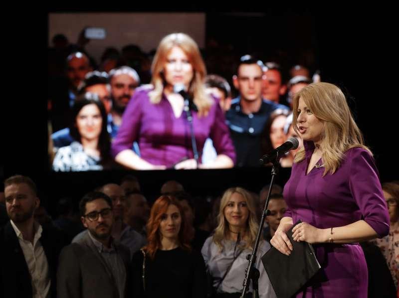 斯洛伐克史上首位女總統卡普托娃(Zuzana Čaputová)發表勝選演說。(美聯社)