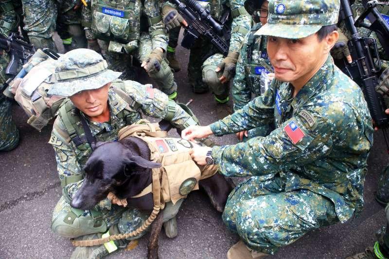 20190401-為期20天的濱海城鎮要地行軍訓練今天落幕,特指部指揮官張宗才少將替隨隊完成任務的特戰犬HOLA別上榮譽臂章,肯定牠的努力。(陸軍司令部提供)