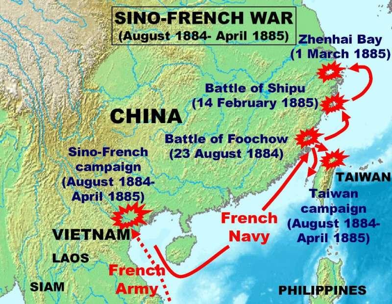 中法戰爭時,法國進攻路線(圖/維基百科)