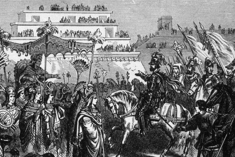 西班牙船員們被邀請進入阿茲提克帝國宮殿的情景。來源:Shutterstock