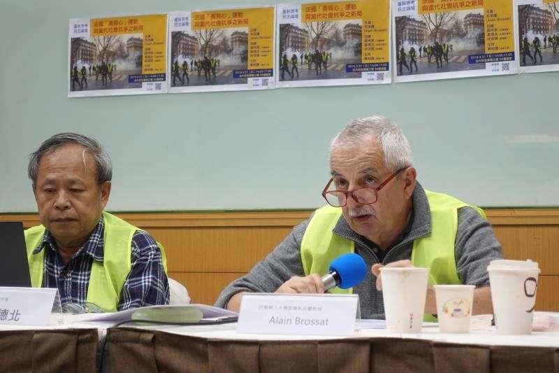 法國哲學家 Alain Brossat與「左翼聯盟」秘書長黃德北。攝影:張智琦(苦勞網)∕林深靖提供