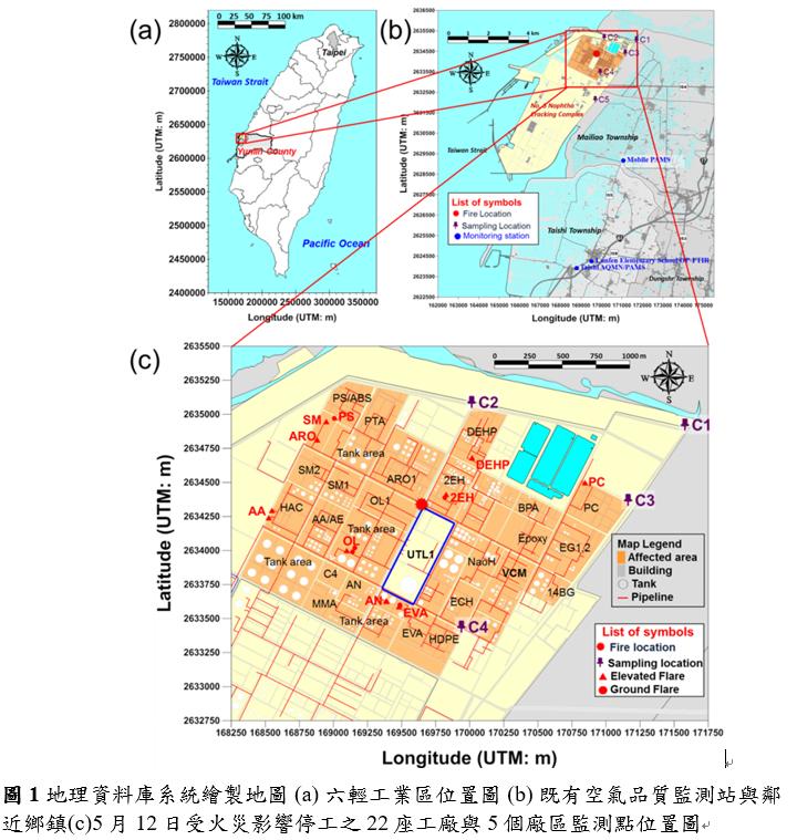20190407-六輕工業區位置圖(擷取自詹長權「以線上與離線空氣監測與反軌跡模式追蹤來自煉油廠火災之有害空氣污染物」論文)