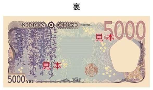 新版日圓5千元背面圖樣,是植物紫籐(圖片來源:日本財務省)