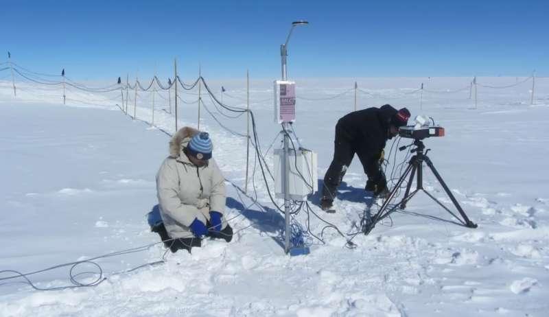 在格陵蘭峰頂基地,觀測大氣透明度。(圖/研之有物提供)