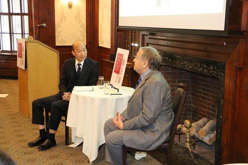 高雄市長韓國瑜在美國哈佛大學演講。(高雄市政府提供)