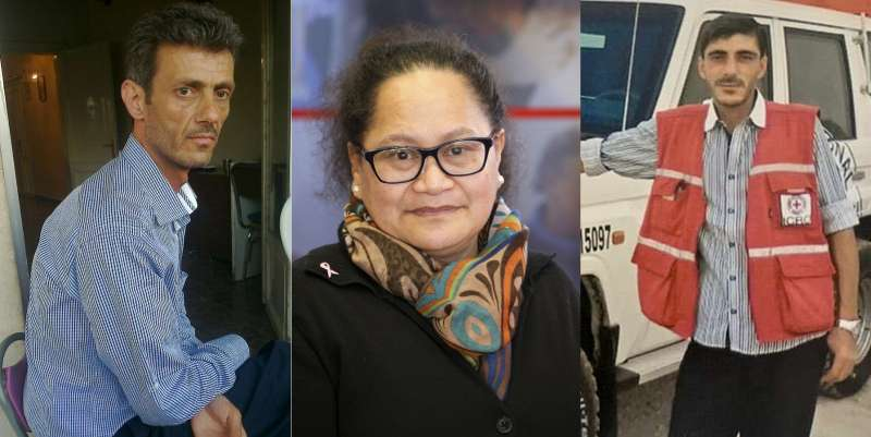 2013年10月在敘利亞西北部被伊斯蘭國(IS)擄走的3位國際紅十字會人員,左起:拉賈布、艾卡威、巴克杜尼斯(AP)