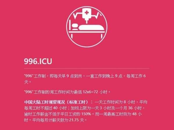 除了在GitHub上抗議外,這群工程師也註冊996.ICU網域,成立網站揭露中國科技業普遍超時工作的現況。(圖/996.ICU)