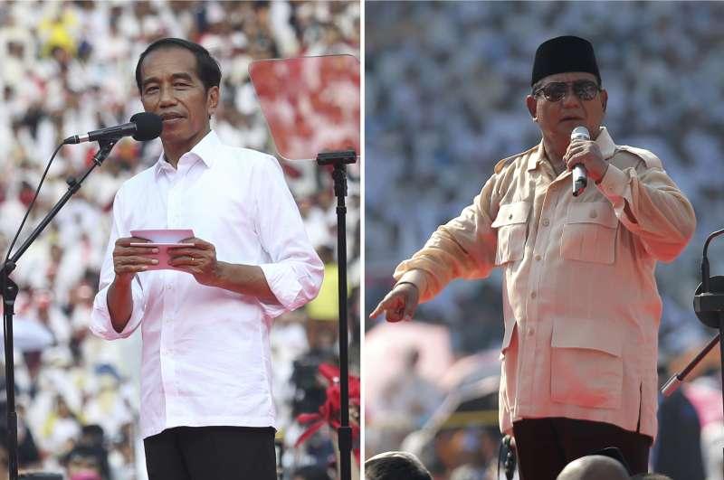 印尼大選4月17日登場,圖為兩位主要總統候選人:現任總統佐科威(左)與前將軍普拉伯沃(右)。(AP)