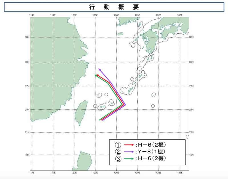 解放軍15日遠海演訓的飛行軌跡。(日統合幕僚監部官網)