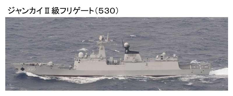 解放軍的飛彈護衛艦「徐州號」。(日統合幕僚監部官網)