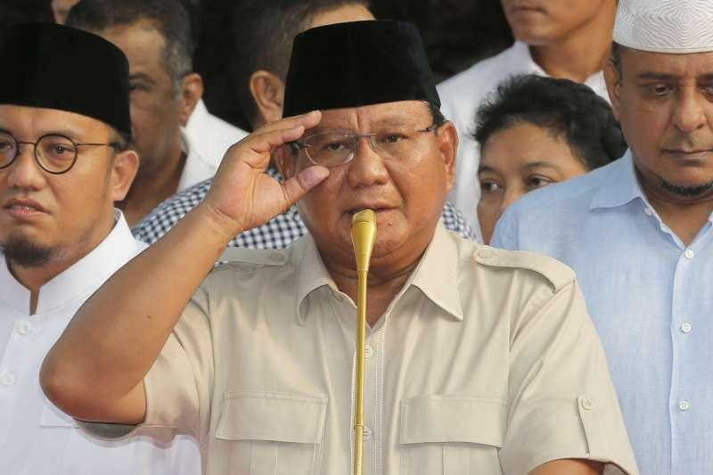 挑戰印尼總統大位的前獨裁者蘇哈托前女婿普拉伯沃(美聯社)