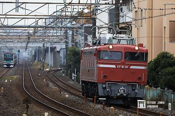 御召列車的行駛程序,首先擔任御召列車先遣機關車的EF81 81,會預先通過行駛路線。(圖/陳威臣攝,想想論壇提供)