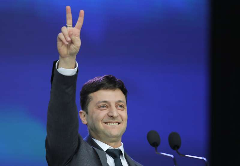 2019年烏克蘭總統大選的黑馬—喜劇演員哲連斯基(Volodymyr Zelensky)。(美聯社)