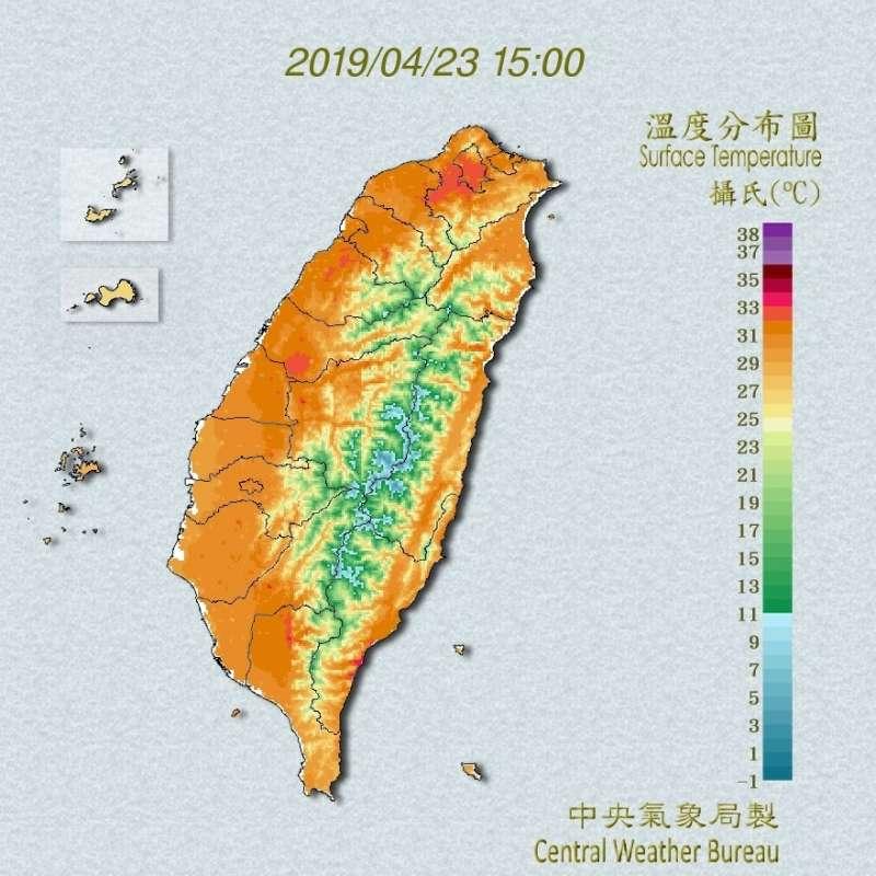 2019-04-23 全台高溫炎熱!今(23)日最高溫35.4度出現在中午台北測站,直到周四水氣增多才會稍微涼爽。(取自中央氣象局)