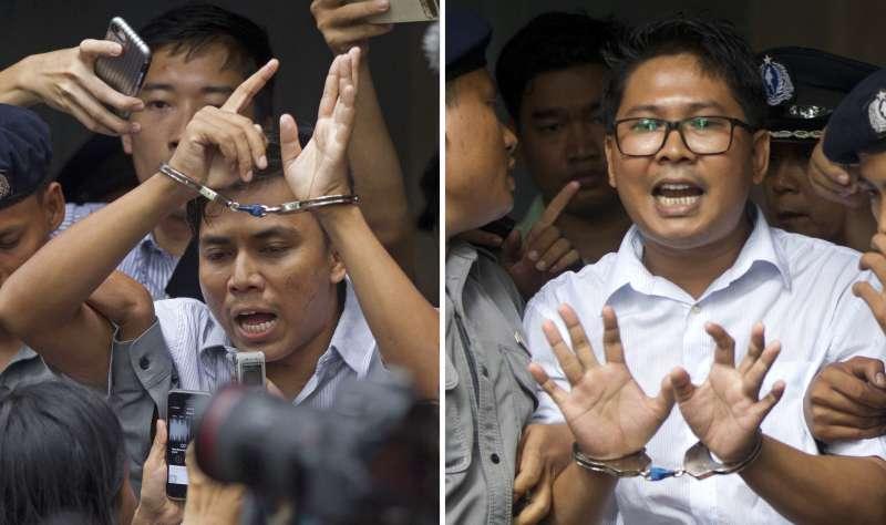 兩名被逮捕的路透社記者,2名路透社記者瓦隆(右)及吳覺梭(左)。(AP)
