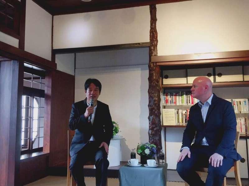 20190426-前行政院長賴清德今天下午在台南市與美國前副總統錢尼(Dick Cheney)的副國安顧問葉望輝(Stephen J. Yates)對談,討論台美關係、中國民主化等議題。(賴清德團隊提供)