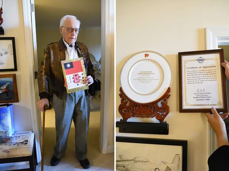 克勞佛中尉,是曾經為共軍救助過的第14航空軍飛行員代表,當時他靠著手上的血幅幸免於難。他家裡,同時有來自兩岸政府與軍方的表揚,表示這段歷史同時能為三方所接受。(許劍虹提供)