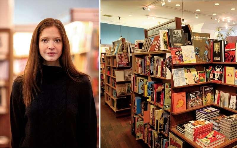 書店創辦人,加拿大出生的莎拉.麥克納利(左)和書店內景。(聯經提供)