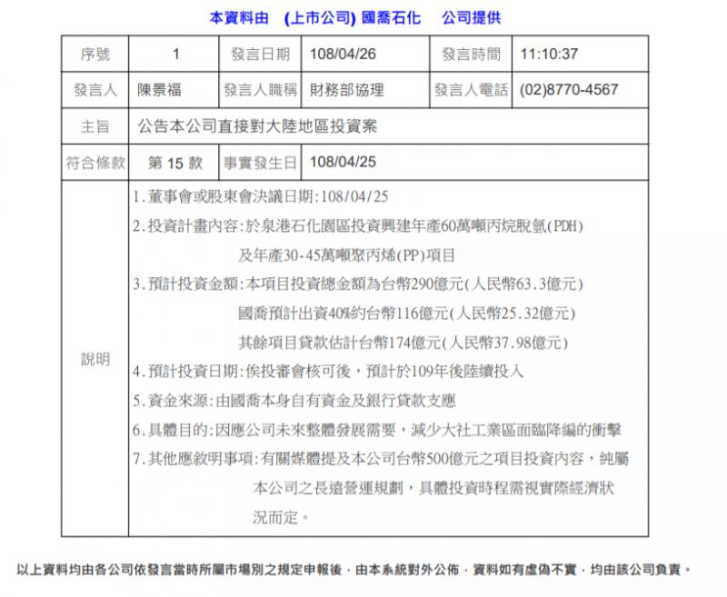 20190430-國喬石油化學股份有限公司於4月26日發布對中國投資案重大訊息。(取自國喬石油化學股份有限公司網站)