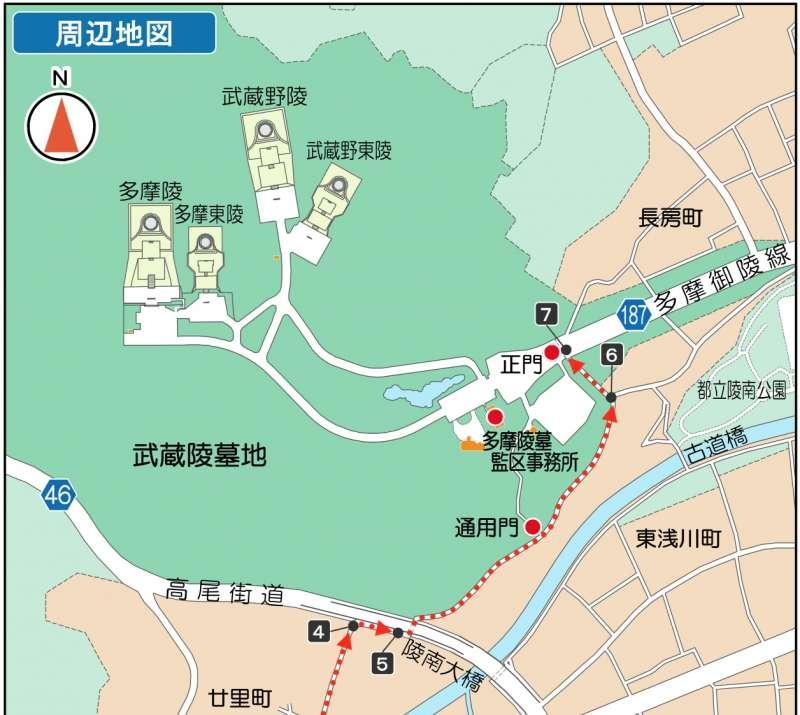 武藏陵墓地周邊地圖。(宮內廳官網)