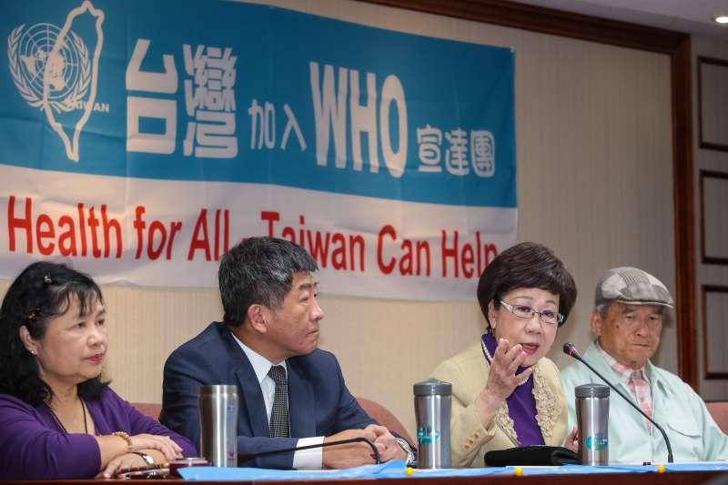 20190501-前副總統呂秀蓮1日出席台灣聯合國協進會WHO宣達團國際記者會。(顏麟宇攝)