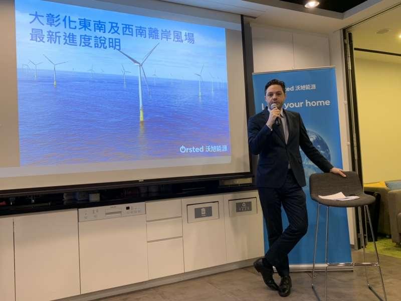 20190502_沃旭能源亞太區總裁暨台灣董事長柏森文(Matthias Bausenwein)2日說明大彰化離岸風場後的投資計畫。離岸風機。(尹俞歡攝)