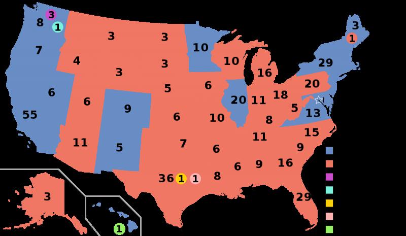 2016年美國總統大選各州結果,藍色為民主黨希拉蕊獲勝,紅色為共和黨川普獲勝(Wikipedia / Public Domain)