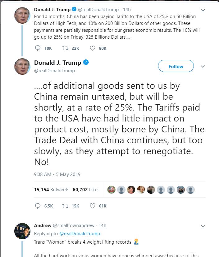 5月5日深夜,美國總統川普推文指出,10日將把2千億美元的中國貨物關稅提高至25%,消息震撼全球。(圖片來源:川普推特)