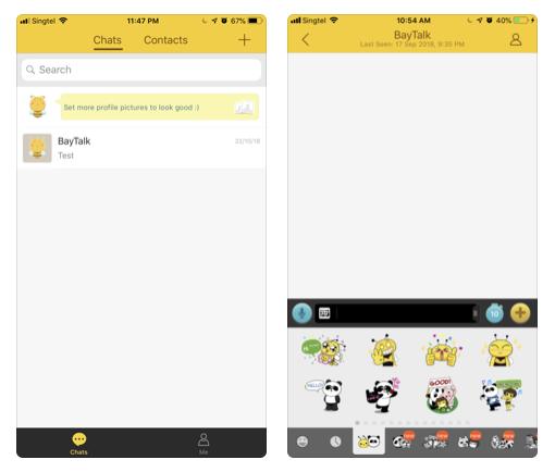 在App Store上,BeeTalk的螢幕快照也僅剩下兩張通訊軟體功能的展示。(圖/數位時代提供)