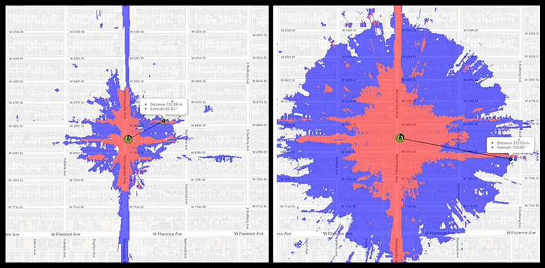 國防創新委員會邀請谷歌幫助進行實地研究,將美國5G測試中使用的毫米波標準與中國5G部署中使用的6GHz以下 (次6頻譜) 標準進行對比,藍色表示速度為100 Mb / s; 紅色表示1 Gb / s的速度。(作者提供)