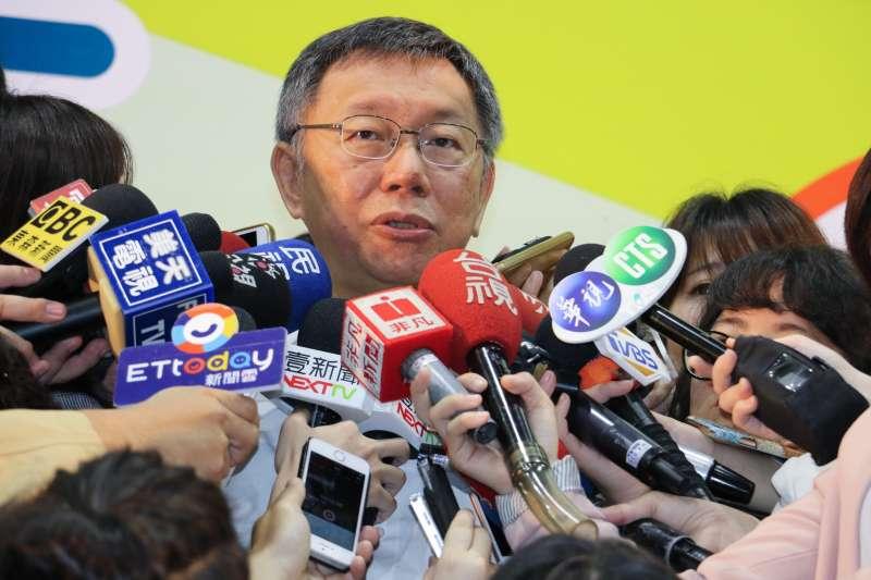 台北市長柯文哲10日上午出席教育局主辦活動,會後受訪。(方炳超攝).jpg