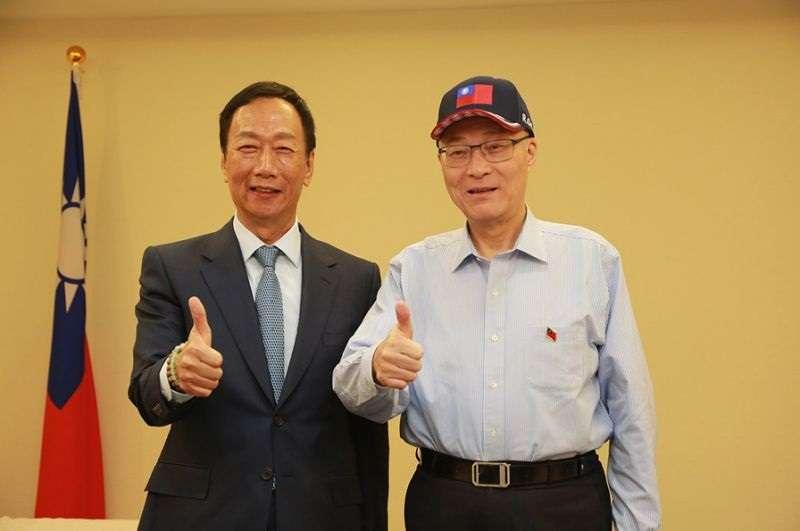 國民黨主席吳敦義與鴻海董事長郭台銘會面,郭台銘提出要公開公平公正的初選。(國民黨提供)