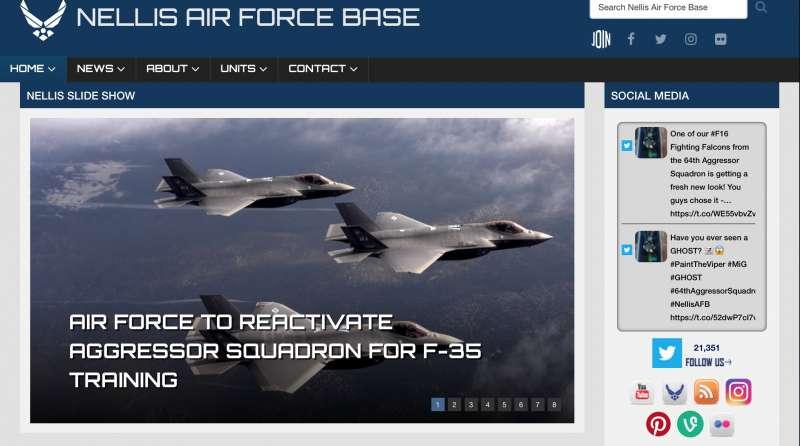 美軍內利斯空軍基地9日公布第65假想敵中隊即將重建的消息。(翻攝官網)
