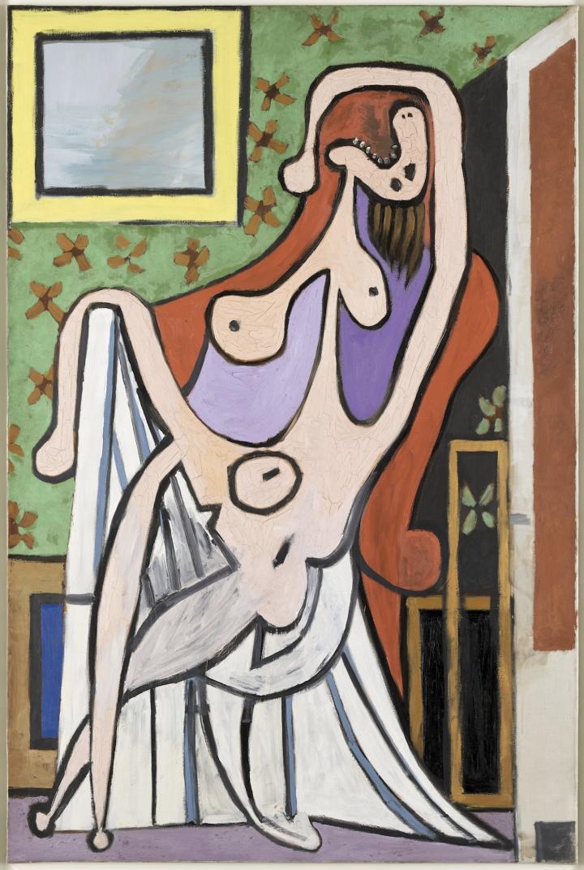 20190516-畢卡索於1929 年畫的Olga。《紅椅上的裸女》,1929年。藏於Musée national Picasso-Paris。(林意凡提供)