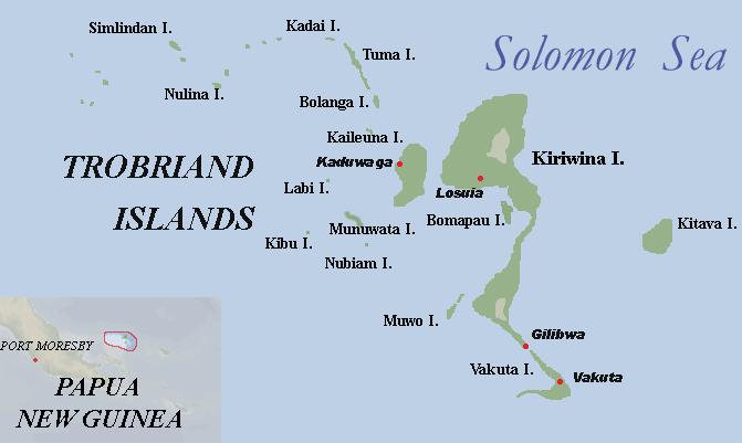 位於太平祥西南部「巴布亞紐幾內亞」中的小島,特羅布里恩群島(Trobriand Island)。(圖片取自維基百科)