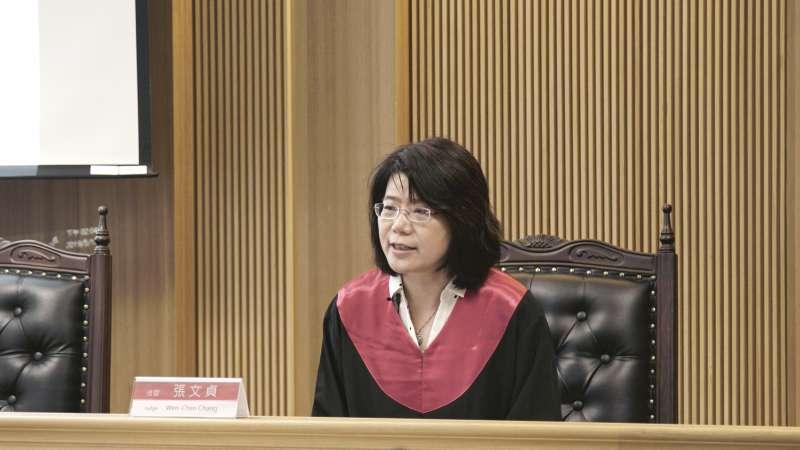 20190519-國立交通大學科技法律學院院長、國立台灣大學法律學院教授張文貞擔任本案的受命法官。(模擬亞洲人權法院提供)