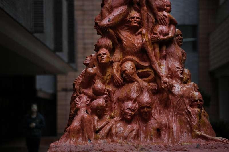 香港大學紀念1989年六四天安門大屠殺的「國殤之柱(Pillar of Shame)(AP)