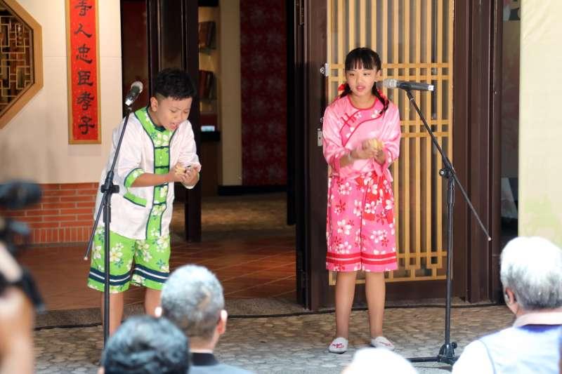 由仁德國小學童帶來客語「口說藝術」,展現台南多元文化樣貌。(圖/徐炳文攝)