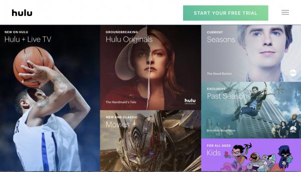 Hulu在今年1月調降含廣告的收費方案價格,月費僅5.99美元。(取自Hulu官網截圖)